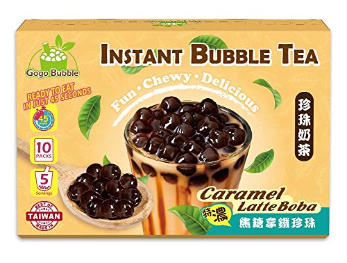 Gogo Bubble Caramel Latte Boba Instant Bubble Tea Kit (5 / Pack) The Ultimate DIY Boba / Bubble Tea Kit, 5 Drinks, 5…