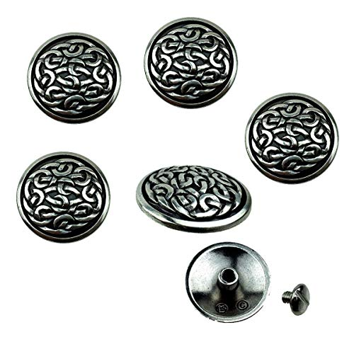 Pack of 6 Western Saddle Belt Biker Leather Craft Art Tack 1' Celtic Conchos Screw Back Concho - Antique