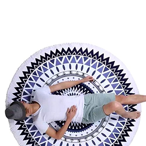 Summer Grand microfibres Imprimé Plage Serviette ronde Avec Tassel Cercle Serviette de plage-7