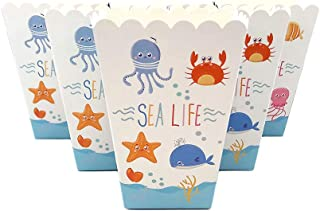 24 Piece Popcorn Box for Kids Sea World Marine Animals Birthday Party, Cake Treat Gift Box Candy Cookie Containers Goodie Bag, Baby Shower Party Decoration Favors Supplies