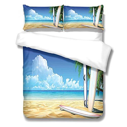 QNZOR Juego de Funda nórdica de 3 Piezas para niños, 135x200cm Funda nórdica con patrón Impreso en 3DTabla de Surf Playa -decoración de dormitorios