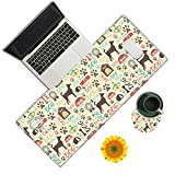Large Gaming Mouse Pad, Dogs Pawprint Desk Pad, Big Extended Mouse Mat Keyboard Pad with Stitched Edge for Laptop Computer Game Office Home Desk Decor (with Coaster & Sticker)