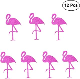 JANOU Flamingo Stickers Pink Glitter Flamingo Gift Tag Stickers Labels Decals for Wedding Birthday Luau Party Decoration Pack 12pcs