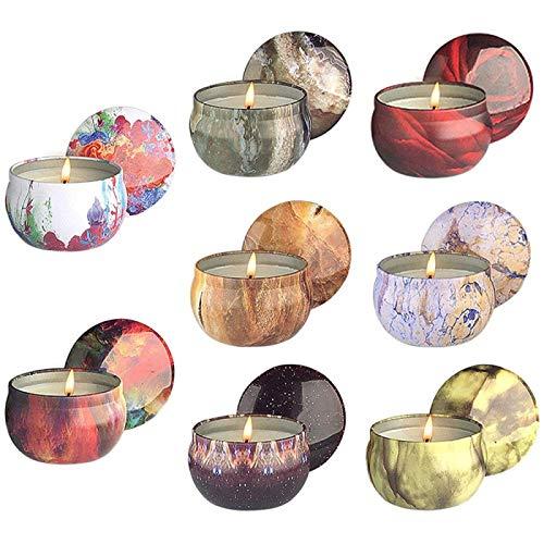 ZHANG Velas Perfumadas Set de Regalo Vela Aromática Velas de Aromaterapia 8 Latas Cera de Soja con Tarjeta de Felicitación para Regalos de San Valentín