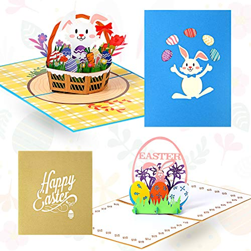 2 Pieces Easter Pop Up Card Easter Eggs Basket Bunny 3D Greeting Card Easter Bunny Card, 3-D Easter Cards, Pop Up Greeting Cards