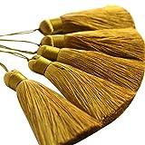 WENSUIJIA 10 borlas de rayón de 19 cm, color dorado, para manualidades, hechas a mano, para hacer joyas, marcapáginas, ropa, joyas hechas a mano, proyectos de manualidades