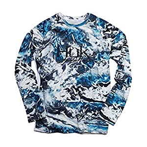Huk Men's Mossy Oak Pursuit Long Sleeve Shirt | Camo Long Sleeve Performance Fishing Shirt With +30 UPF Sun Protection, Mossy Oak Hydro Glacier, 2X-Large