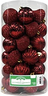 Holiday Time Christmas Decor 60mm Shatterproof Ornament, Set of 41 (Red)