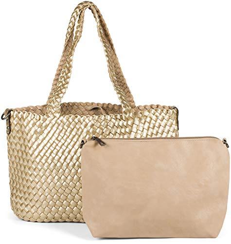 styleBREAKER XXL Wendetasche in Flecht-Optik, Shopper Tasche, 2 Taschen, Handtaschen Set, Bag in Bag, Schultertasche, Damen 02012163, Farbe:Gold/Beige