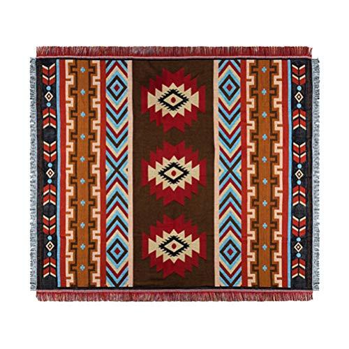 FAVOMOTO indiano geometria creativa divano coperta coperta indiano vintage frange cotone tessuto arazzo colorato divano copriletto per divano divano Loveseat sedia reclinabile copertura (150 x 210 cm)