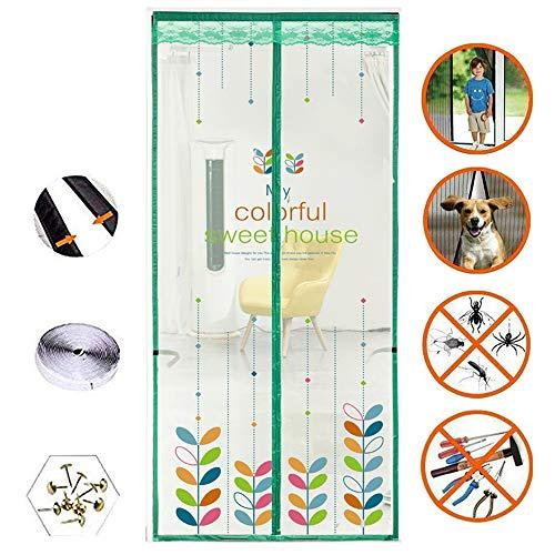 Magnetic Double Door Mesh, Meerdere Maten Kleurrijke Bladeren Door Klamboe Magic Curtain voor de zomer,90 * 205cm
