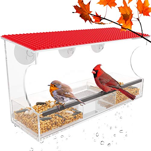 Window Bird Feeder with Strong Suction Cups, Tile Roof Outdoor Birdfeeders for Wild Birds, Finch,Cardinal & Bluebird. 2 Seed Trays, Water Container, Drain Holes, Large Outside Hanging Birdhouse Kits