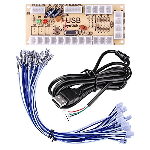 Quimat Arcade Spiel DIY Teile Kit für PC und Raspberry Pi 3 2 1 Model B mit RetroPie, 5 Pin Joystick, 8X 30MM und 2X 24MM Buttons (Rot)