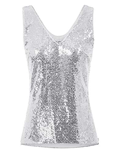 GRACE KARIN Women's Sequin Tank Top Sexy Party Shimmer V-Neck Camisole Silver M