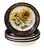 Certified International French Sunflowers Soup/Pasta Bowl, 9.25-Inch, Set of 4