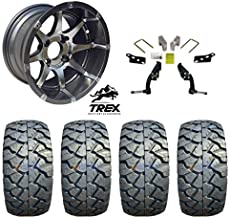 "12"" Banshee Gunmetal Wheels mounted on 22"" Stinger All Terrain Tires (Set of 4) and Jake`s 6"" Club Car DS Spindle Lift Kit - (1981-2003.5 Electric / 1996-2003.5 Gas)"