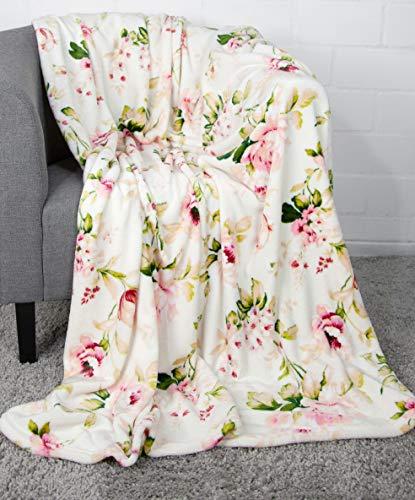 jilda-tex Wohndecke Kuscheldecke Plüschdecke Blumen Decke Tagesdecke Blumendecke 150 x 200 cm (Roses Apricot)