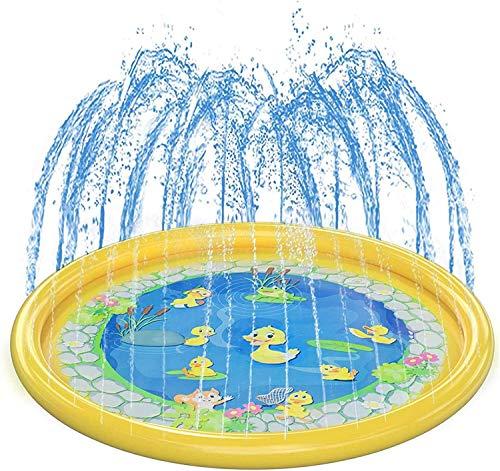 Juguete Pista de salpicaduras de 3 en 1, piscina de rociadores para niños, 68 imágenes de los juguetes de agua al aire libre inflables para el aprendizaje, la estera de agua de la fuente del césped de
