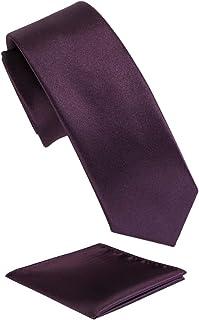 Fortunatever Mens Solid Color Tie,Slim Necktie With Multiple Colors+Pocket Square