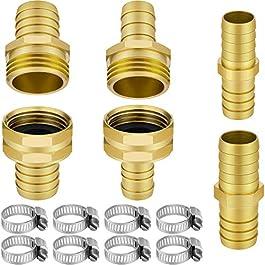 Awpeye Lot de 4 kits de réparation de tuyau d'arrosage en laiton 5/8″ et 3/4″ avec raccord de tuyau d'arrosage femelle et mâle avec 8 pinces en acier inoxydable
