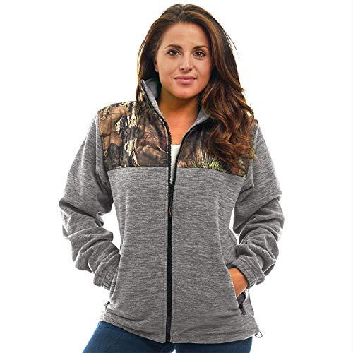 TrailCrest Women's C-Max Full Zip Fleece Jacket, Mossy Oak Break-Up Country Camo (Grey Heather - Large)