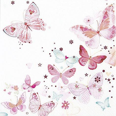 20 Servietten Lovely butterflies – Reizende Schmetterlinge / Frühling 33x33cm