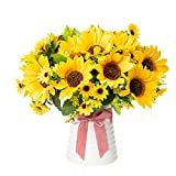 Fake Flowers Bouquets with Ceramics Vase Artificial Flowers in Vase Silk Sunflower Arrangements Table Centerpieces for Holiday Room Table Kitchen Decoration (Yellow Sunflower)