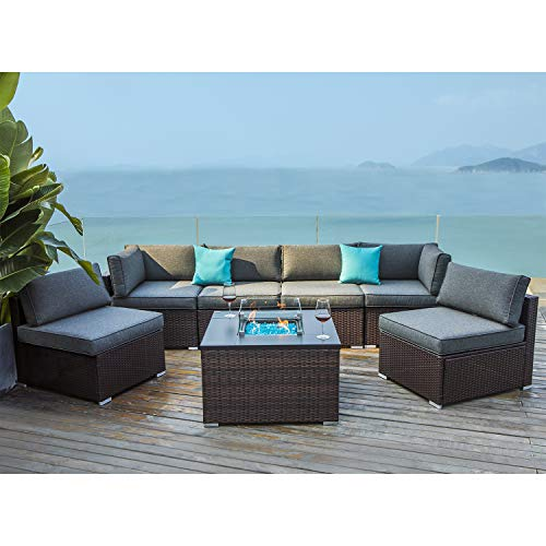 COSIEST 7 Piece Propane Fire Pit Outdoor Sectional Sofa, Chocolate Brown Patio Furniture Set w 32-inch Square Wicker Fire Table (40,000 BTU) Fits 20 gal Tank Outside for Garden, Pool, Backyard
