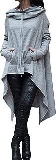 Abetteric Womens Long Stylish Pockets Hoode Various Hem Oversized Sweatshirts