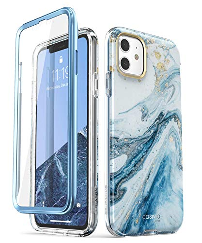 i-Blason iPhone 11 Hülle Glitzer Handyhülle 360 Grad Case Bling Schutzhülle Bumper Cover [Cosmo] mit integriertem Displayschutz 6.1 Zoll 2019 Ausgabe (Blau)