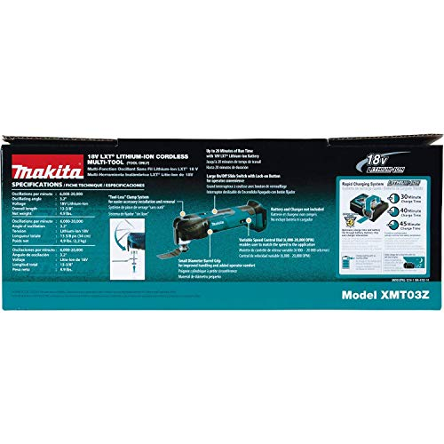 Makita Xmt03Z 18V Lxt Lithium-Ion Cordless Multi-Tool, Tool Only (Renewed)