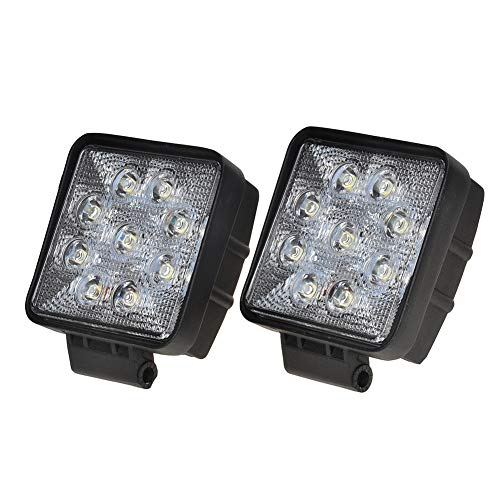 KAWELL 2 Pack 27W Round 6000K 60 Degree LED Work Light for ATV Jeep Boat SUV Truck Car ATV Fishing Deck Driving light Off Road Waterproof Led Flood Work Light