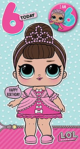 Lol Surprise verjaardagskaart voor 6e verjaardag, LO002, in het Engels