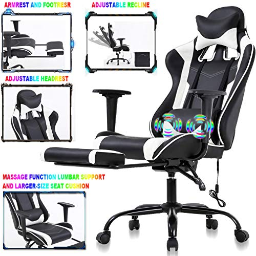 Best Home PC Gaming Reclining Chair Video Game Chair Ergonomic Racing Heavy Duty Leather Office Chair, Massage Function Lumbar Support with Arms Footrest & Headrest Adjustable Office Desk Chair, White