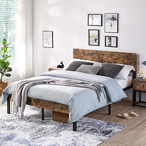 YAHEETECH Vintage Style Full Size Metal Bed Frame with Wooden Headboard/Mattress Foundation/No Box Spring Needed/Under Bed Storage/Strong Slat Support