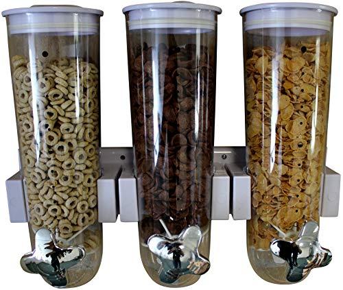 United Entertainment - Dispensador de cereales (triple dispensador, soporte de pared para cereales, cereales y cereales), color blanco