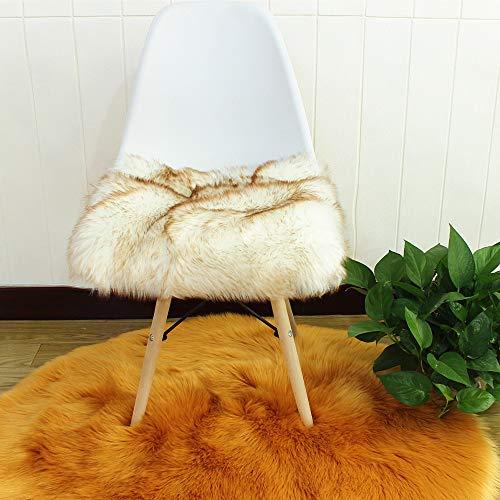 Faux Lammfell Sitzkissen, Schaffell Sitzauflage Longhair Fell Optik Nachahmung Wolle Sofa Matte (Weißer Kaffee-TIPP,45 * 45cm)