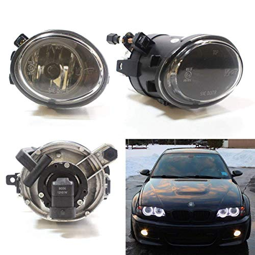 iJDMTOY One Pair Clear Lens Fog Lights Foglamps w/ Halogen Bulbs Compatible With 2001-2005 BMW E46 M3, 3 Series w/ M-Tech Bumper or 1999-2002 BMW E39 M5 (OEM# 63 17 7 894 018, 63 17 7 894 017)