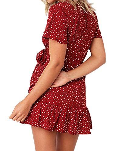 GHYUGR Vestidos de mujer de verano vestidos de lunares boho chic Dresses atado cuello en V vestido de playa cóctel noche rojo 40