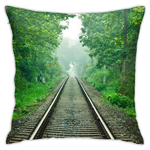 DHGER Bahngleis Nilambur Kerala View Dekorative Kissenbezug mit Reißverschluss Kissenbezug für Zuhause Sofa Schlafzimmer Auto Stuhl Haus Party Indoor Outdoor 18 x 18 Zoll 45 x 45 cm