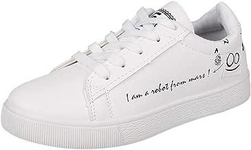 Zapatillas Deportivo para Mujer Verano Running PAOLIAN Zapatos de Cordones Plano Casual Deporte Caminar Calzado Escolares Espadrilles Blanco 35-40 EU