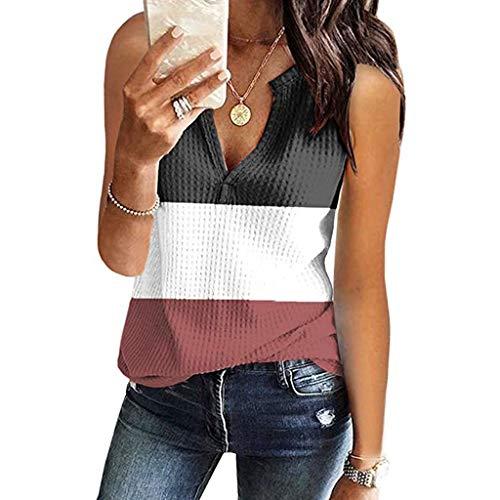 ZHANSANFM Tank Top Damen Sommer Weste V-Ausschnitt Ärmellose Farbblock Shirt Mode Sexy Elegant Basic Bluse T-Shirt Oberteile Trägershirts Tee Shirts Top (S, Wein)