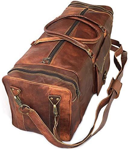 28Pulgadas real Vintage de cabra piel hecho a mano bolsas de equipaje viaje en cuadrado grande grande marrón bolsa Carry on por KK de piel