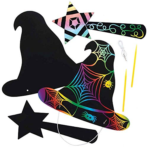 Baker Ross AX220 Scratch Art Witches and Wizards Hat & Wands - Pack of 4 Sets, Halloween Decorations, Ideal for Kids to Design and Decorate