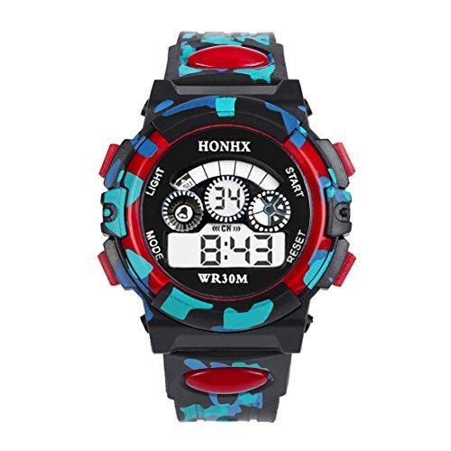Souarts kinderen sport digitale klok LED klok met wekker multifunctioneel siliconen armband digitaal display klok voor jongens meisjes camouflage kleur rood