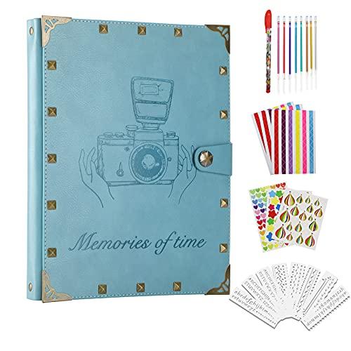 ZEEYUAN Fotoalbum Scrapbook Selbstgestalten Nieten im Vintage 60 Nachfüllseiten Fotobuch zum Einkleben mit Fotoecken als Geschenk zum Muttertag, Weihnachte, Geburtstag für Paare Eltern