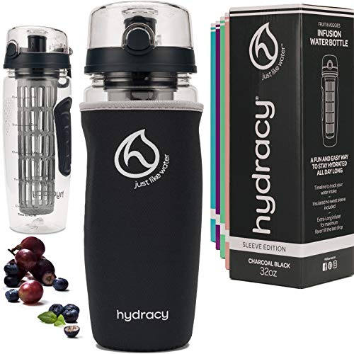 Hydracy Fruit Infuser Water Bottle - 1Litre Sport Bottle with Insulating Sleeve, Time Marker and Full Length Infusion Rod + 27 Fruit Infused Water Recipes eBook Gift - Charcoal Black