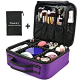 Makeup Bag, ESARORA Portable Travel Makeup Cosmetic Case Organizer Mini Makeup Train Case (10 inch) with Adjustable Dividers for Cosmetics Makeup Brushes ...