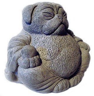Tyber Katz ZEN Lucky PUG DOG Buddha Art Statue
