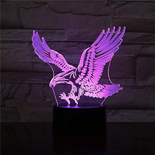 Lámpara de águila ilusión 3D luz de noche colorida halcón luz de escritorio táctil lámpara Beddisuer luz remota de acrílico para interior de oficina 2341